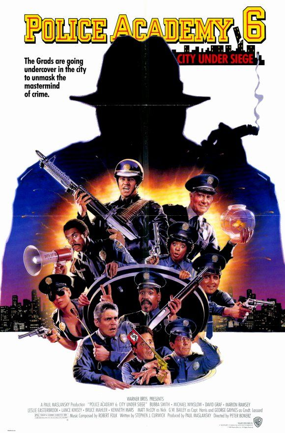 Police Academy 6: City Under Siege (1989) stars: Bubba Smith, David Graf, Michael Winslow, Leslie Easterbrook, George R. Robertson, Gerrit Graham, G.W. Bailey ~ Director: Peter Bonerz