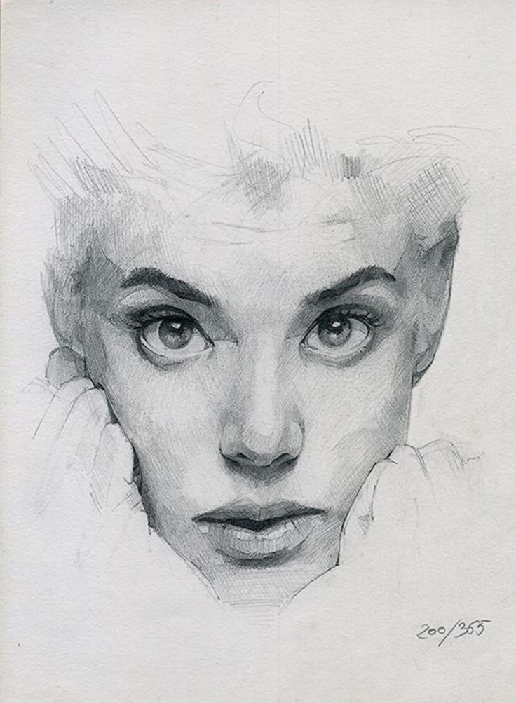 365 sketches selection - Ramon Mascaros {contemporary artist female head wide-eyed woman face portrait drawing #loveart}