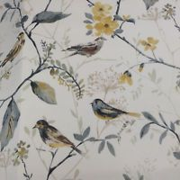 Skylark Bird  Song Grey/Yellow Cotton Curtain/Craft Fabric