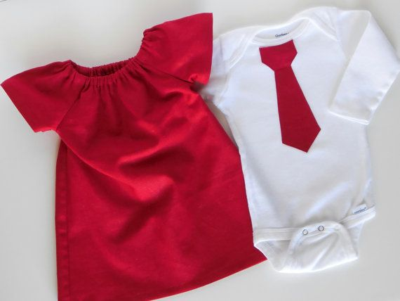 Red dress and tie onesie twins set christmas holiday clothing