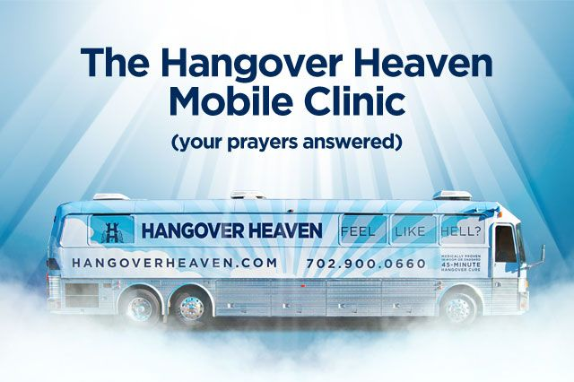 The Hangover Heaven Bus is a 45-foot rolling hangover treatment clinic that has been modified to provide first-class medical treatment in resort-style comfort. Reservations required!