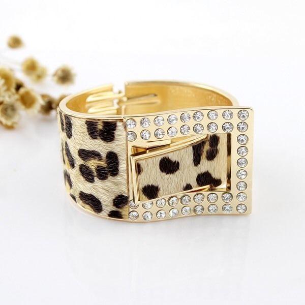 Gold Leopard Print Fur with Rhinestone Bangle, Women's Fashion Accessories