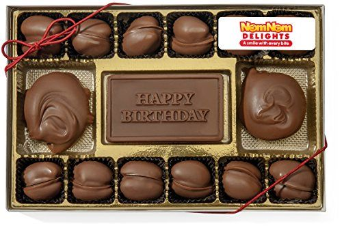 Gourmet Chocolate Gift Box  Happy Birthday  Milk Chocolate Covered Pecans and Caramel Clusters 14 Oz -- You can get more details by clicking on the image.