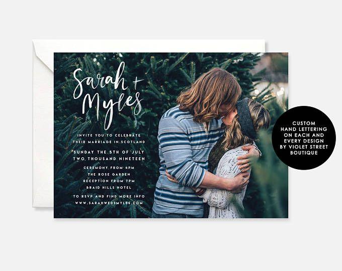 Printable PDF Photo Wedding Invitation, Modern Wedding Invitation, Scottish Wedding Invitation, Printable Indie Wedding Invitation