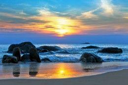 Wallpapers Sea Coast Sunrises and sunsets Sky Stones Sun Nature, free desktop photo 410761