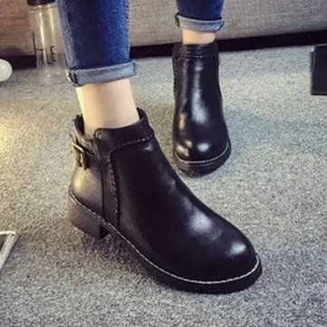 Designer Fashion Leather Low Heel Slip On Ankle Boots - NewChic
