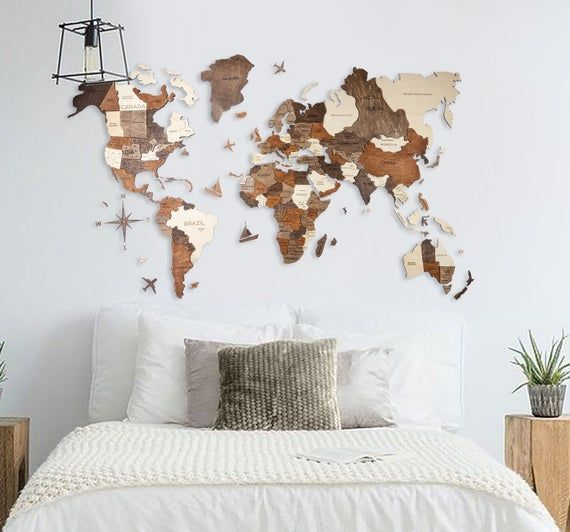Christmas Gift World Map Wooden Rustic Home Wood Travel Wall Art 5th Anniversary Gift For Husband Valentines Boyfriend Wedding Couple Gift