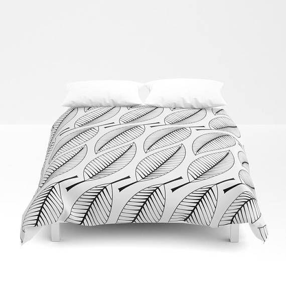 Black white leaves duvet cover,simple minimalist #housewares #bedroom #bedding @EtsyMktgTool #duvetcover #bedcover #beddingset