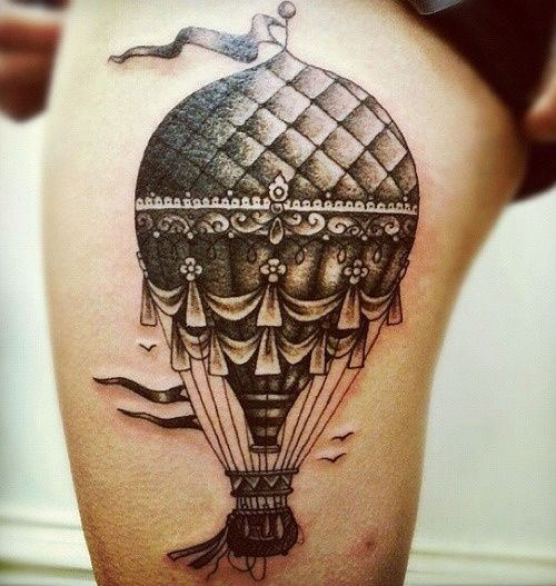 hot air balloon...MY NEW FAV. TATTOO. I LOVE VINTAGE HOT AIR BALLOONS. I'm getting this for sure...with my own touch, of corse.