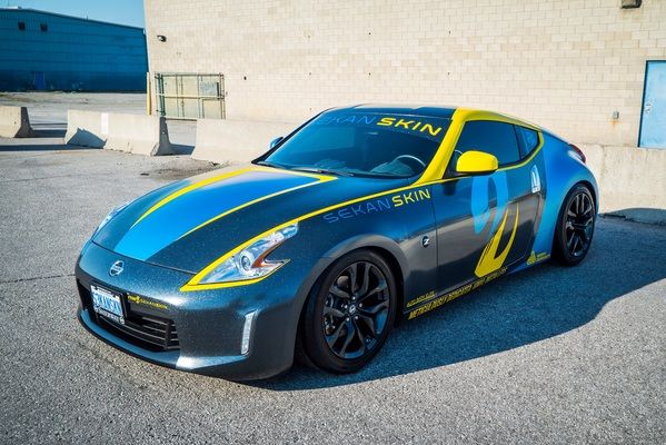 King of Canada Sekanskin Exclusive Knifeless Wrap & Design  Sekanskin  2016 Nissan 370Z  Avery Dennison Supreme Wrapping Film Milky Way, Satin Pearl Cielo Blu and Gloss Yellow