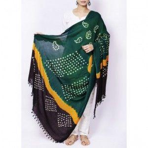 Green handloom bandhani cotton dupatta