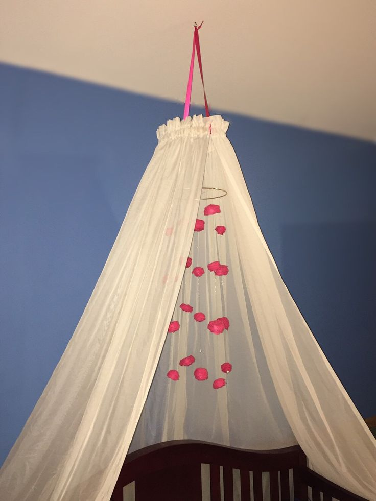 Baby crib canopy, cascading rose mobile, girl twin bed canopy, nursery decor, sheer curtain canopy, pink flower mobile, big girl bed, roses
