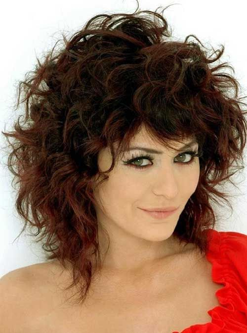 medium natural curly hairstyles with bangs - Google Search