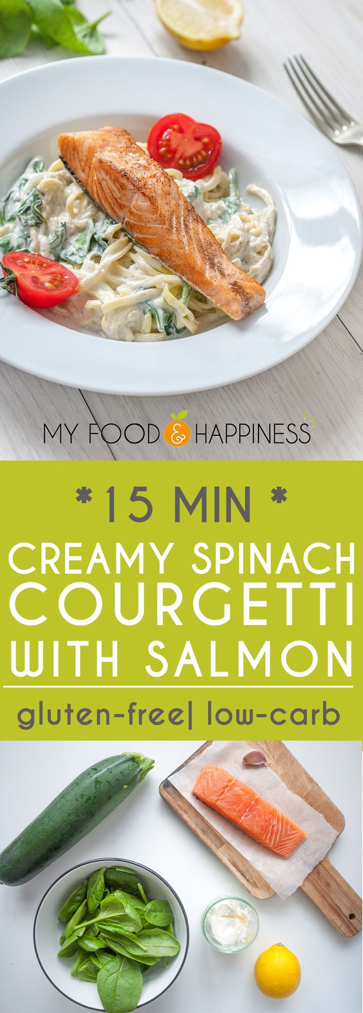 Healthy and delicious creamy spinach zoodles / courgetti with Salmon. High-protein, low-carb and gluten-free meal ready in just 15 minutes!