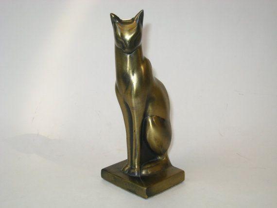 Vintage frankart art deco moderne brass cat bookend sculpture doorstop