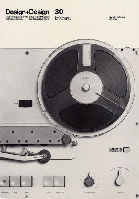 Design+Design Magazine 30, 1994-5, featuring the first Braun tape recorder, TG 60 by Dieter Rams from 1965.