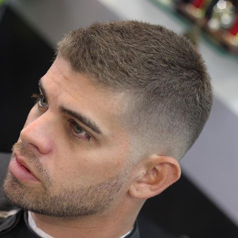 Very Short Textured Haircut With Cool Beard