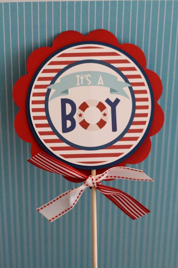 Nautical Baby Shower Centerpiece Sticks by thelovelyapple on Etsy