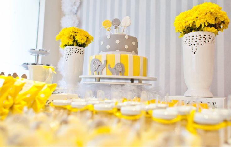 Chá de fraldas amarelo e cinza Baby shower grey and yellow Bolo elefante Decor Elephant cake