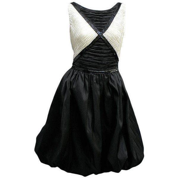 Preowned 1980s Mary Mcfadden Black And White Bubble Dress (8.735 ARS) ❤ liked on Polyvore featuring dresses, vintage, white, white dresses, vintage dresses, sequined dresses, black white cocktail dresses and black and white dress