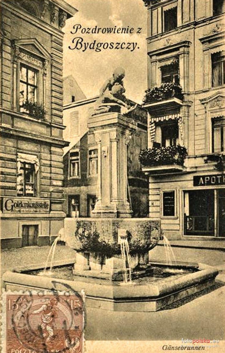 """Fontanna """"Dzieci bawiące się z gęsią"""", Bydgoszcz - 1915 rok, stare zdjęcia"""