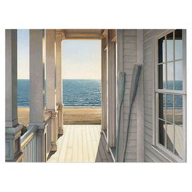 Bring beach-chic style to your living room or den with this eye-catching canvas wall art, depicting a charming porch scene.     Product: Wall artConstruction Material: CanvasFeatures:  Beach motif