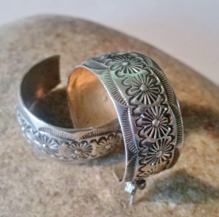 Navajo Stamped Hoop Earrings, Sterling Signed Open Back Hoops, Southwest Jewelry, Handcrafted Earrings by LeafSpirits on Etsy