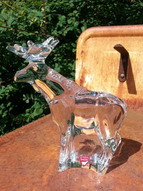 Vintage Orrefors solid crystal figurine rendeer /