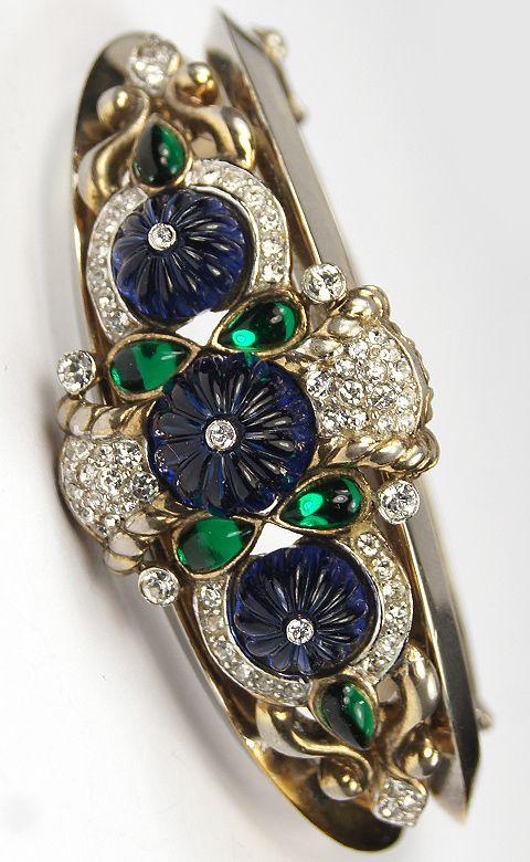 Trifari 'Alfred Philippe' Moghul Jewels Sapphire and Emerald Bangle Bracelet
