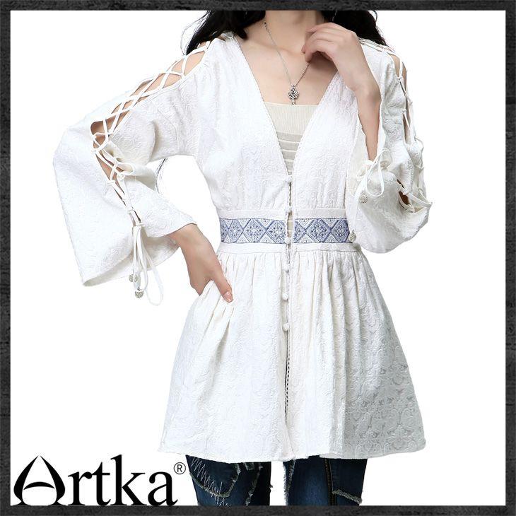 Туника-рубашка белого цвета в этническом стиле с длинным рукавом