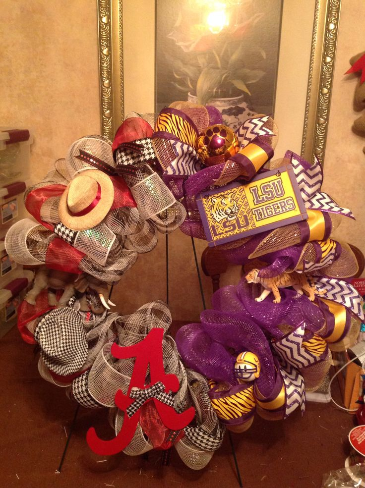Mesh House divided wreath LSU Alabama