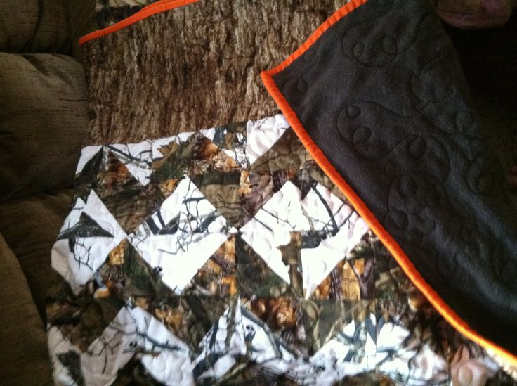Camo quilt with blaze orange trim
