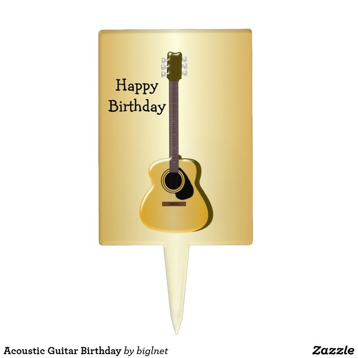 Acoustic Guitar Birthday Cake Topper