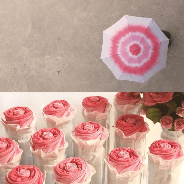 雨の日も楽しくなりそう!折り畳むとバラの花になるカワイイ折り畳み傘 - Rosella Umbrella