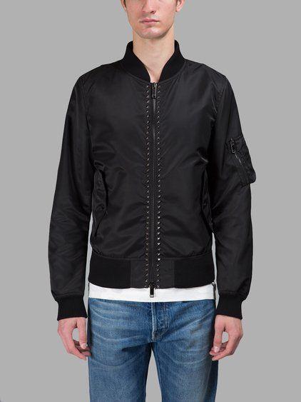 VALENTINO Valentino Men'S Black Bomber Jacket. #valentino #cloth #jackets