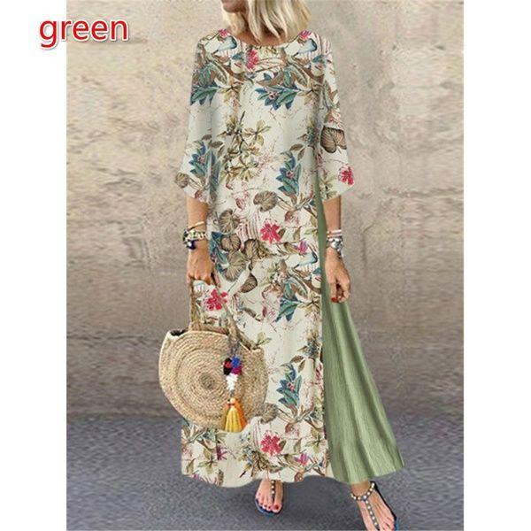 Womens Casual Loose Short Sleeve Floral Printed Patchwork Long Kaftan Maxi Dress