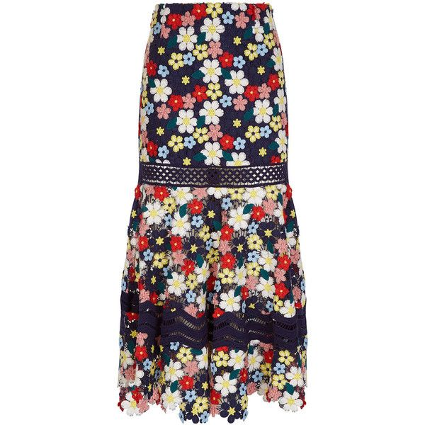 Sea NY Multi 3-D Lace Flower Skirt (€665) ❤ liked on Polyvore featuring skirts, tiered lace skirt, lace skirt, blue tiered skirt, flower skirt and floral skirts