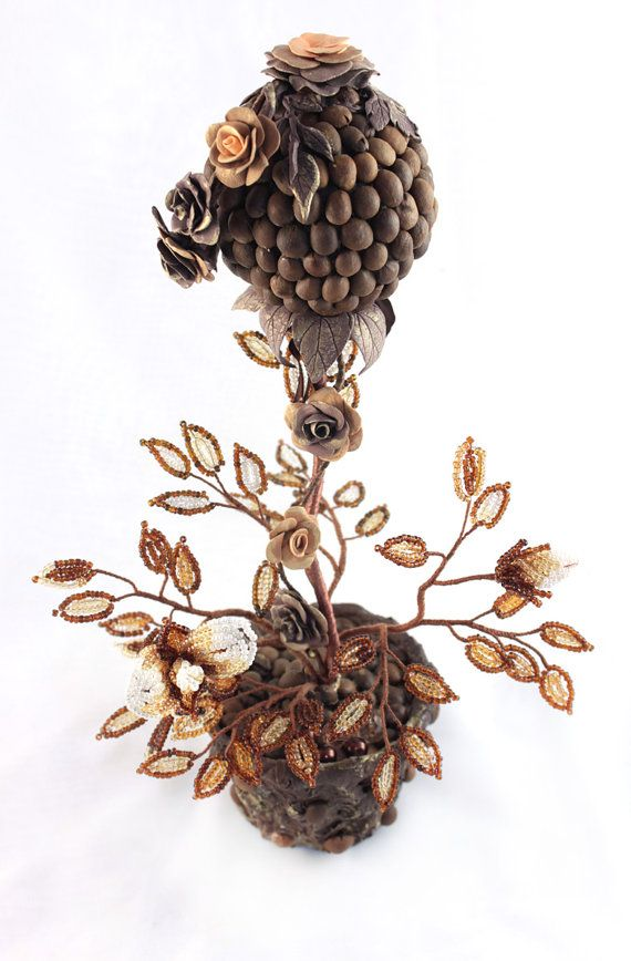 Coffee Topiary, made of coffee beans and clay with velvet finish / texture.      ~by UniversesSwirlsCoffee Lovers, Coffee Rocks, Кофейное Дерево, Velvet Finish, Art With Coffee Beans, Textiles Art, Higher Ground, Coffee Topiaries, Ahhhh Coffee