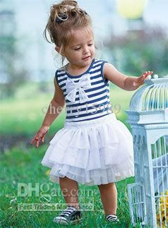 Wholesale Fashion New baby girl's clothes set navy blue stripe onesies with ruffle skirt