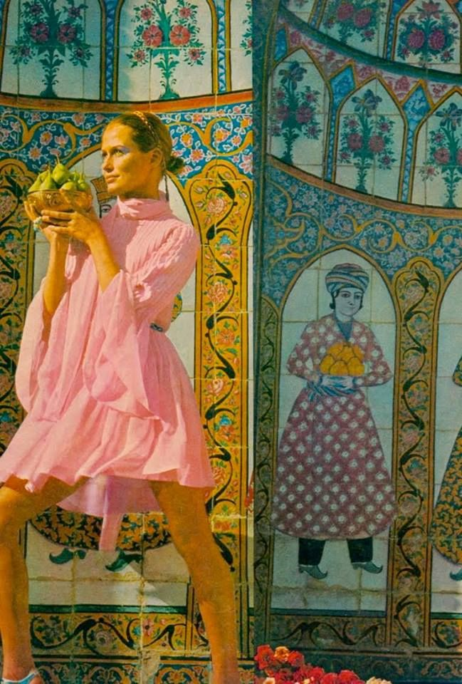 """""""In 1969 fashion photographer Henry Clarke traveled to Iran to shoot the December spread for Vogue US. Although it's difficult for some to believe now, the images above illustrate a time when Iran was just as much on the map fashion-wise as Paris or Milan (New York wasn't even on the fashion map at that point in time). Clarke captured models Marisa Berenson, Lauren Hutton, and Cynthia Korman at various mosques and palaces in Tehran, Isfahan, and Shiraz."""