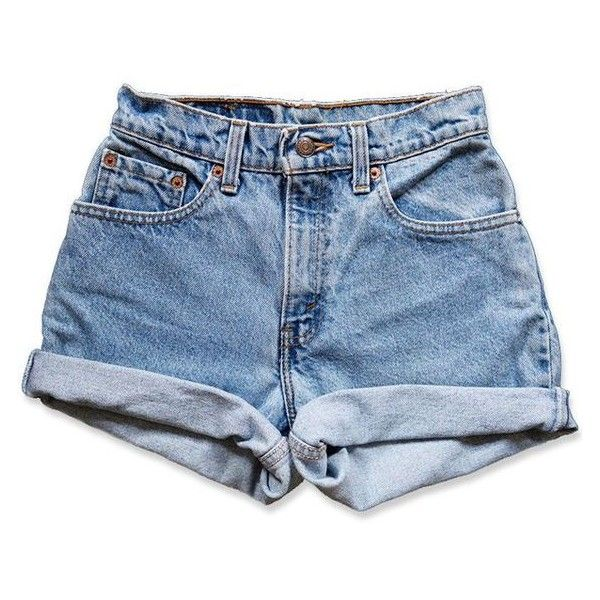 Vintage 90s Levi's Medium Blue Wash High Waisted Rise Cut Offs Cuffed ❤ liked on Polyvore featuring shorts, vintage denim shorts, high rise shorts, cutoff denim shorts, vintage shorts and levi shorts