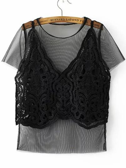 Shop Black Mesh Tee With Lace Crochet Cami Top online. SheIn offers Black Mesh Tee With Lace Crochet Cami Top & more to fit your fashionable needs.