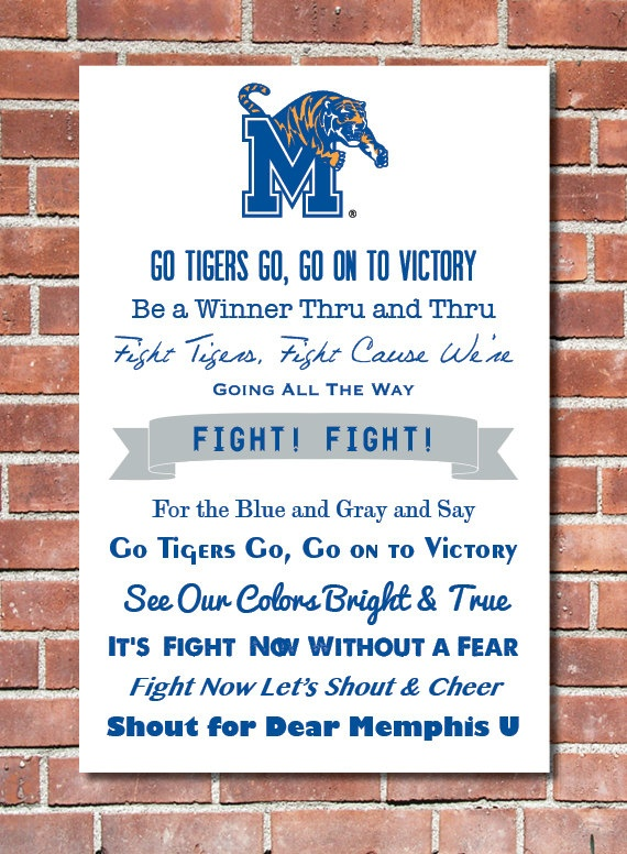 24 x 36 University of Memphis Fight Song Poster by Design1985, $40.00    Learn the fight song!  ~Melissa