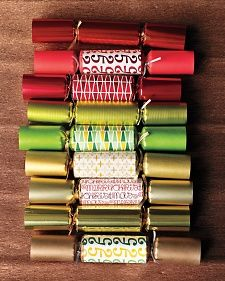 How-To make a Traditional Paper Christmas Cracker, Martha Stewart.  I love Christmas crackers (we're not British, but my aunt would find them at discount stores and set the table with them each Christmas); they're surprisingly easy to make (you have to remember to save your toilet paper tubes, though!