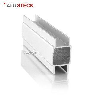Alu Vierkantrohr 25 x 25 mm - zwei 10 mm hohe Doppelstege gegenüber, in Wunschlänge nach Maß zum einschieben von Plattenmaterial bis max. 16 mm Stärke im ALUSTECK® Onlineshop unter http://www.alusteck.de/alu-vierkantrohr-profile/ kaufen