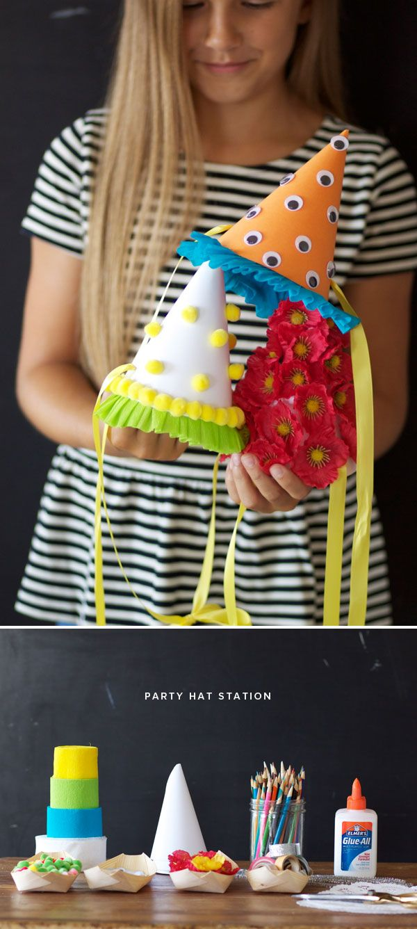 DIY Party Hat Station--At your next party, let little guests create their own festive party hats.
