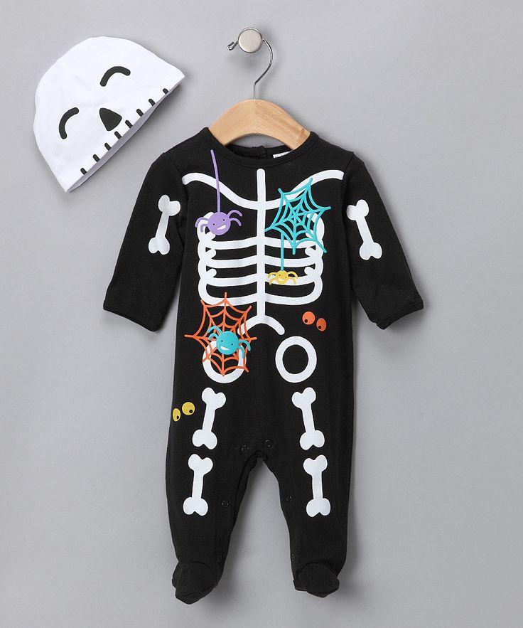Babyworks Black Skeleton Footie Beanie