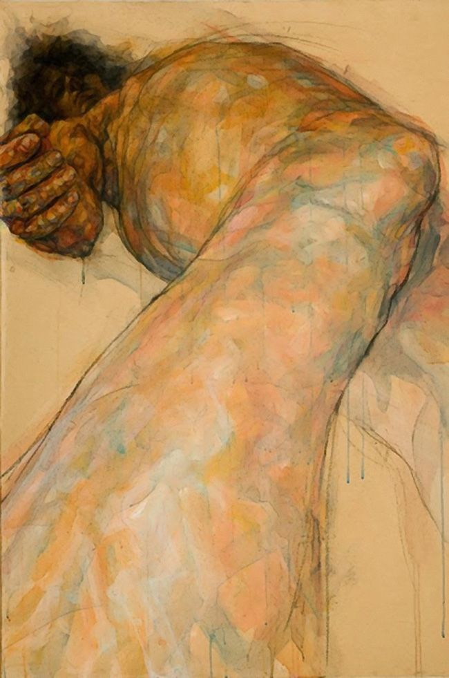 Artist: Sylvie Guillot; Marseille, France {figurative discreet nude female foreshortening woman painting}