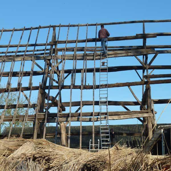Hoog boven op de ladder Sjaak Murre, de man achter de verhuizing (foto Marjan van den Bos)