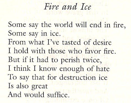 robert frost fire ice Can you name the words to 'fire and ice' by robert frost.